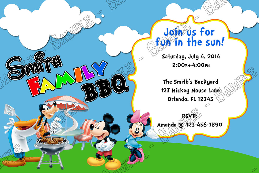 Novel Concept Designs - Mickey Mouse BBQ Birthday Party Invitation