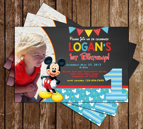 Mickey Mouse - Blue Banner - Birthday Invitation
