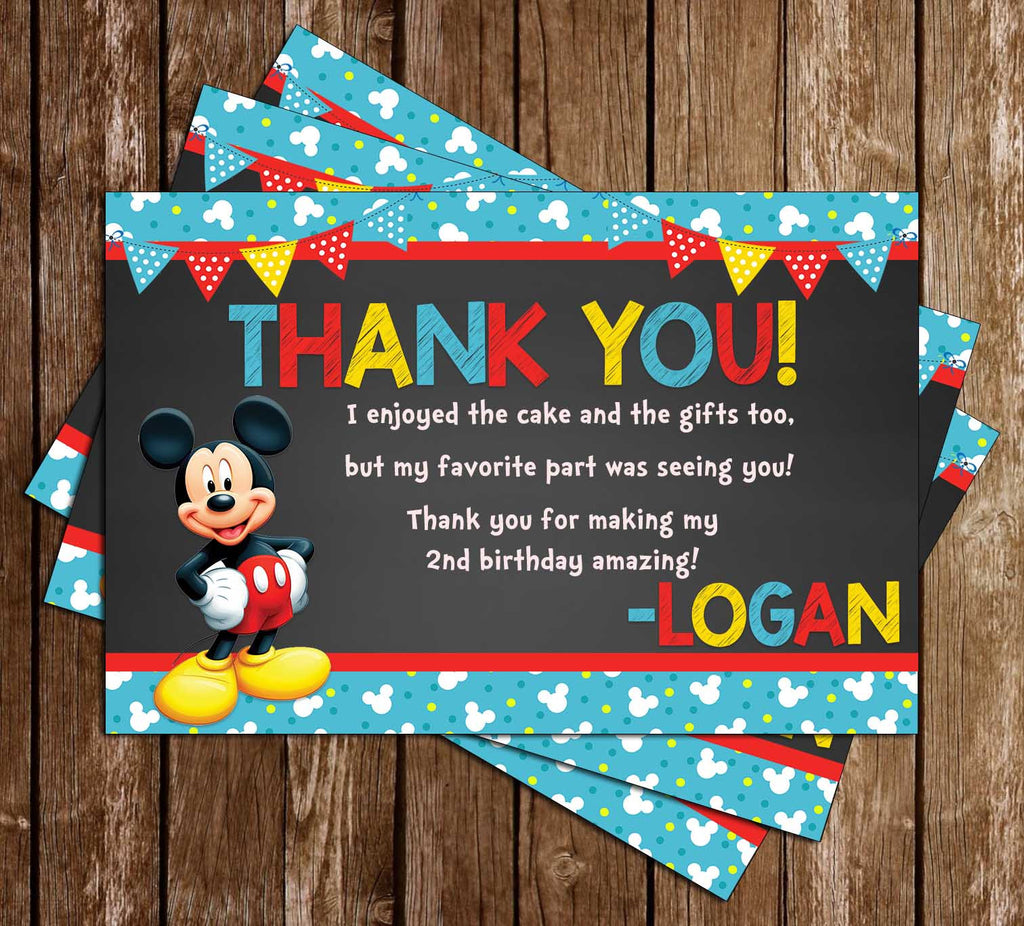 Mickey Mouse Blue Banner Birthday Invitation