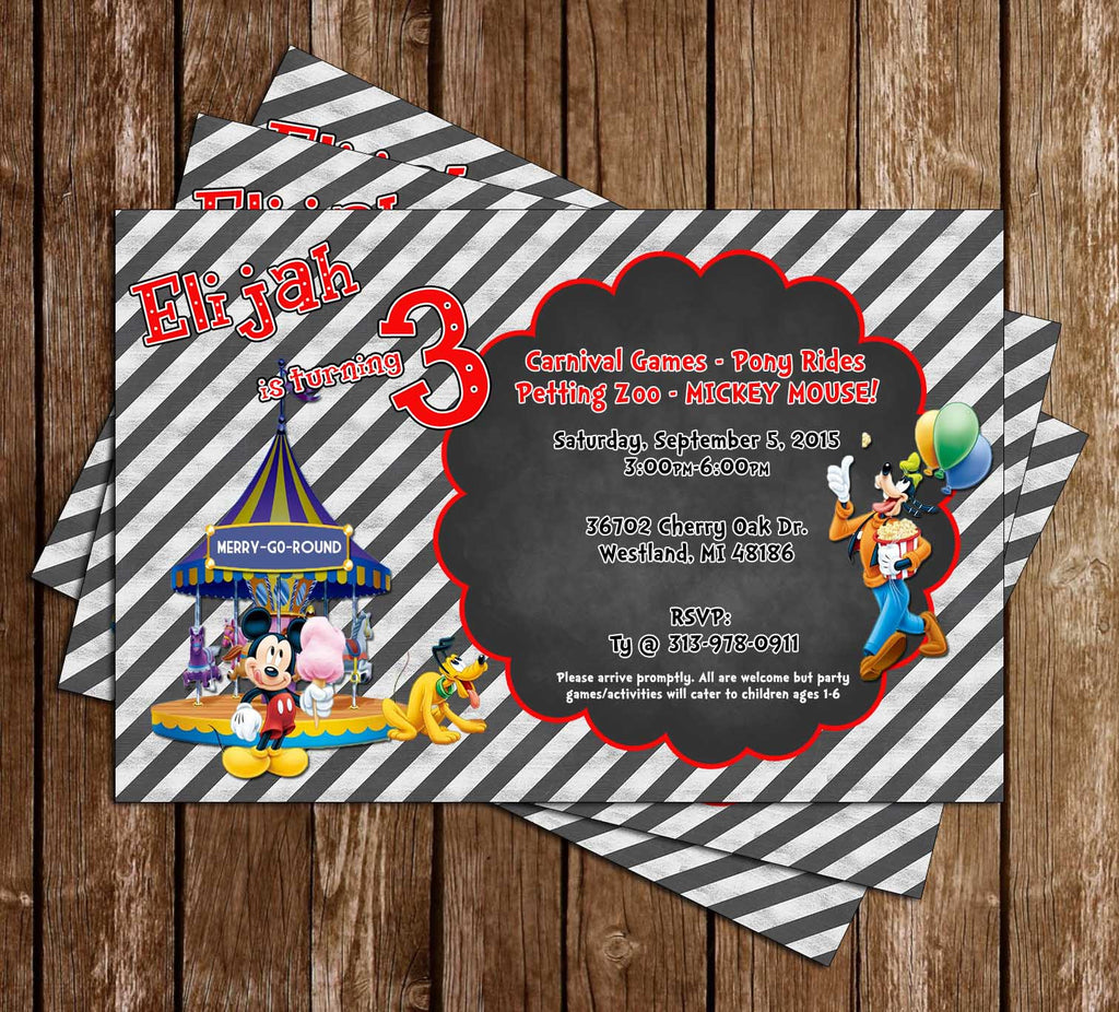 graphic relating to Disney Printable Envelopes identified as Disney Mickey Mouse Carnival Chalkboard Birthday Invitation
