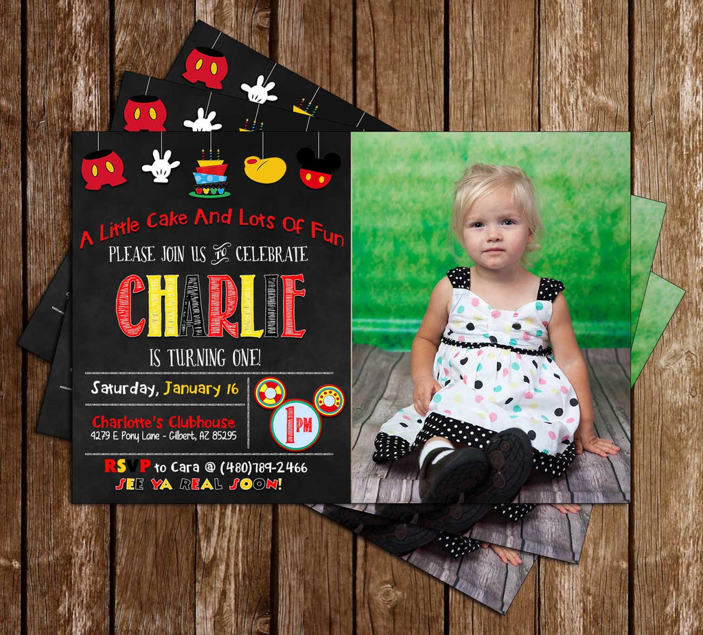 Disney Mickey Mouse - Chalkboard - Birthday Invitation (Large Photo)