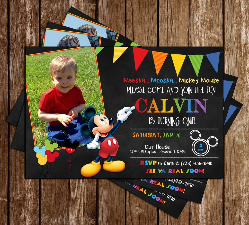 Mickey Mouse Chalkboard Birthday Invitation (Photo)