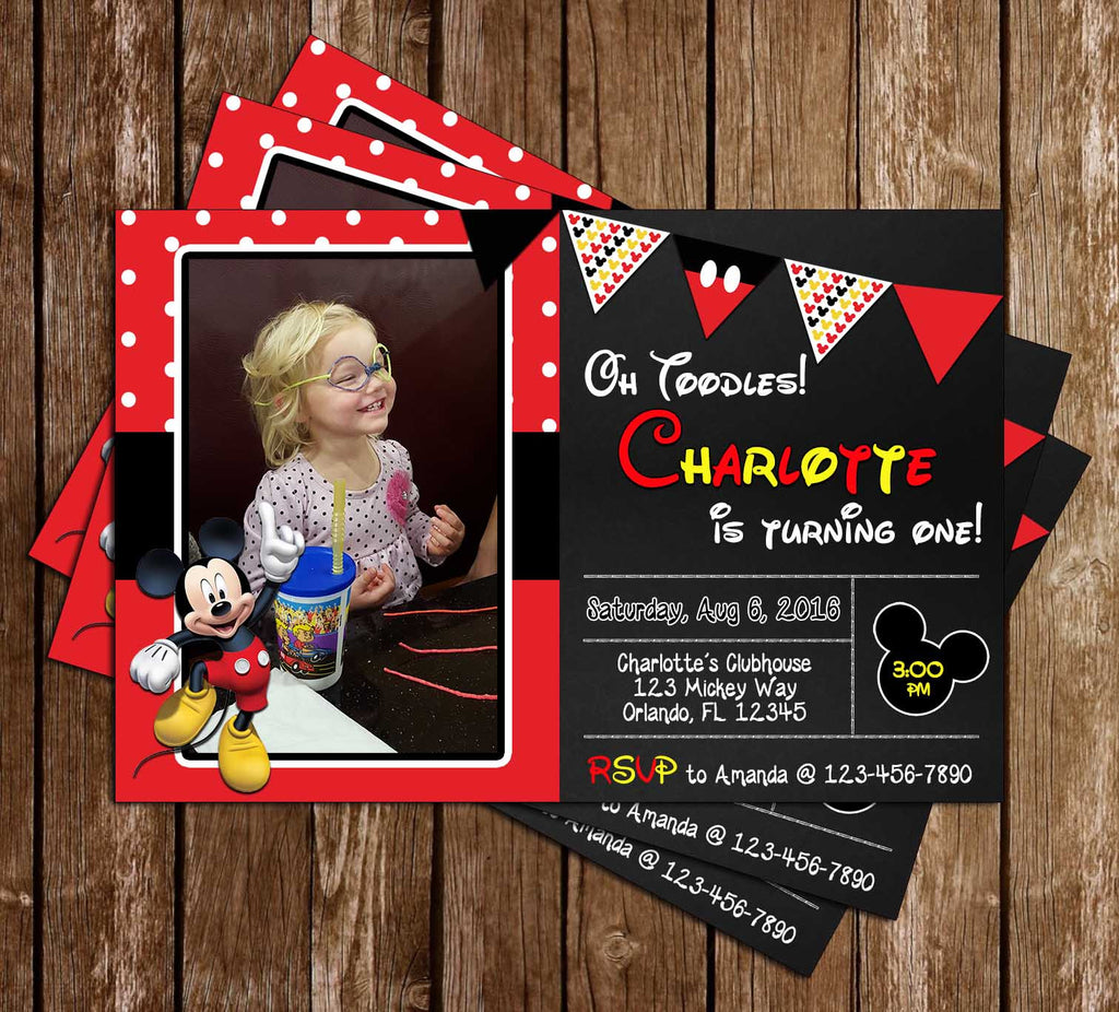 Disney Mickey Mouse - Red Chalkboard - Birthday Invitation (Photo)