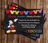 Mickey Mouse - Glitter - Light Blue - Birthday Party - Invitation