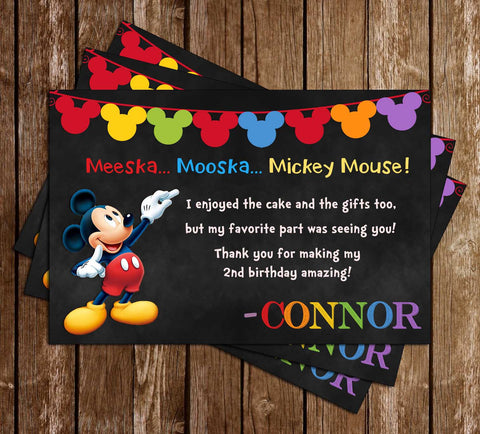 Mickey Mouse - Chalkboard - Birthday - Thank You Card