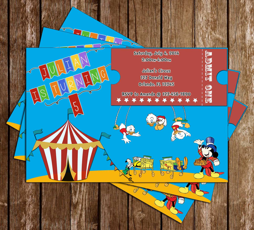 Disney Mickey Mouse Circus Birthday Party Invitation