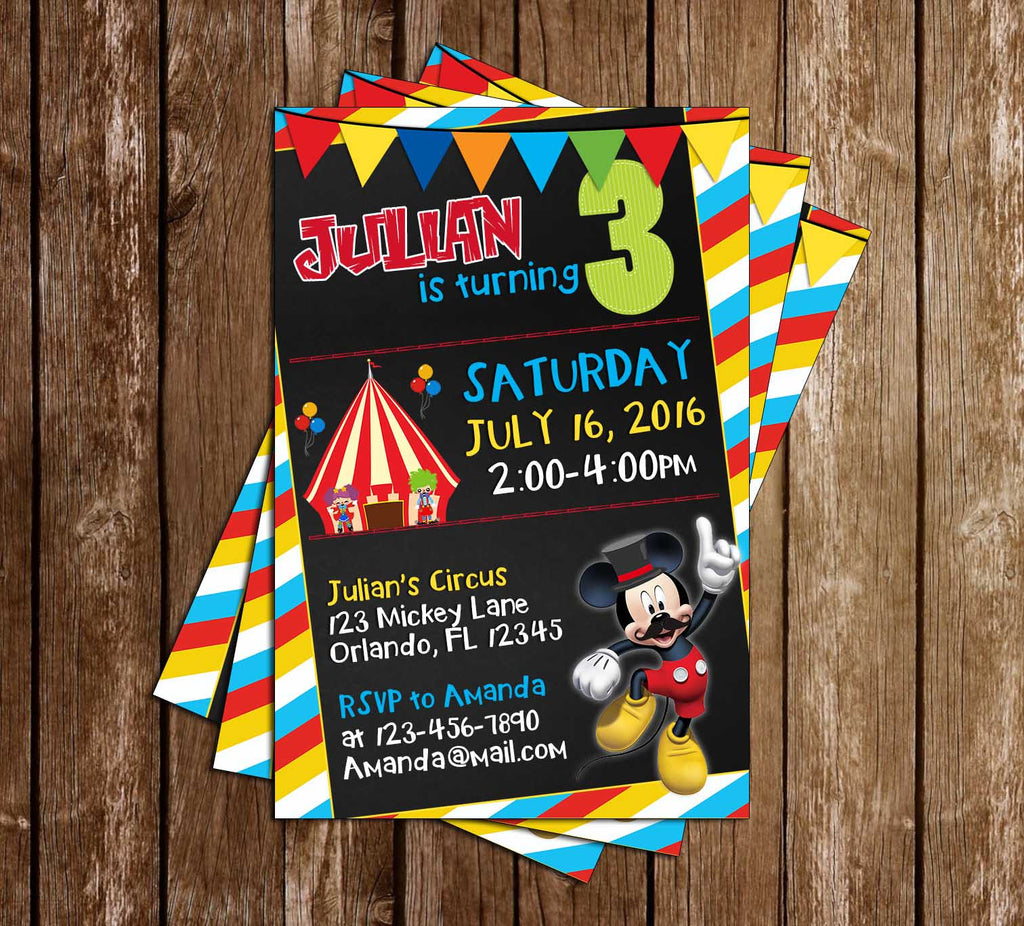 Mickey Mouse Circus Chalkboard Birthday Party Invitation