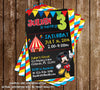 Disney Mickey Mouse Circus Chalkboard Birthday Party Invitation