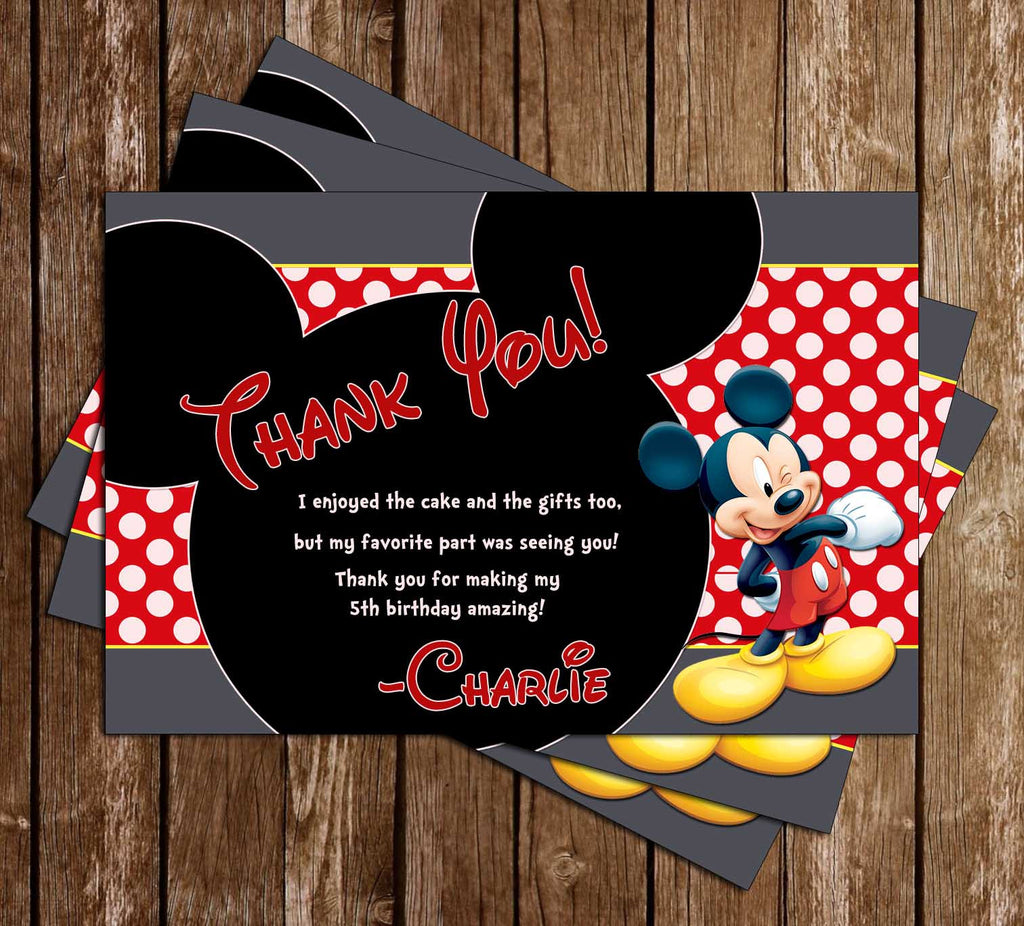 Mickey Mouse Grey Birthday Thank You