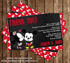 Mickey Mouse & Minnie Mouse - Gender Reveal - Baby Shower Thank You Card