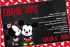 Mickey & Minnie Mouse - Gender Reveal - Baby Shower Thank You Card
