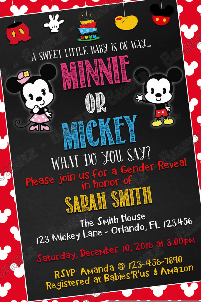 mickey mouse u0026 minnie mouse gender reveal baby shower invitation