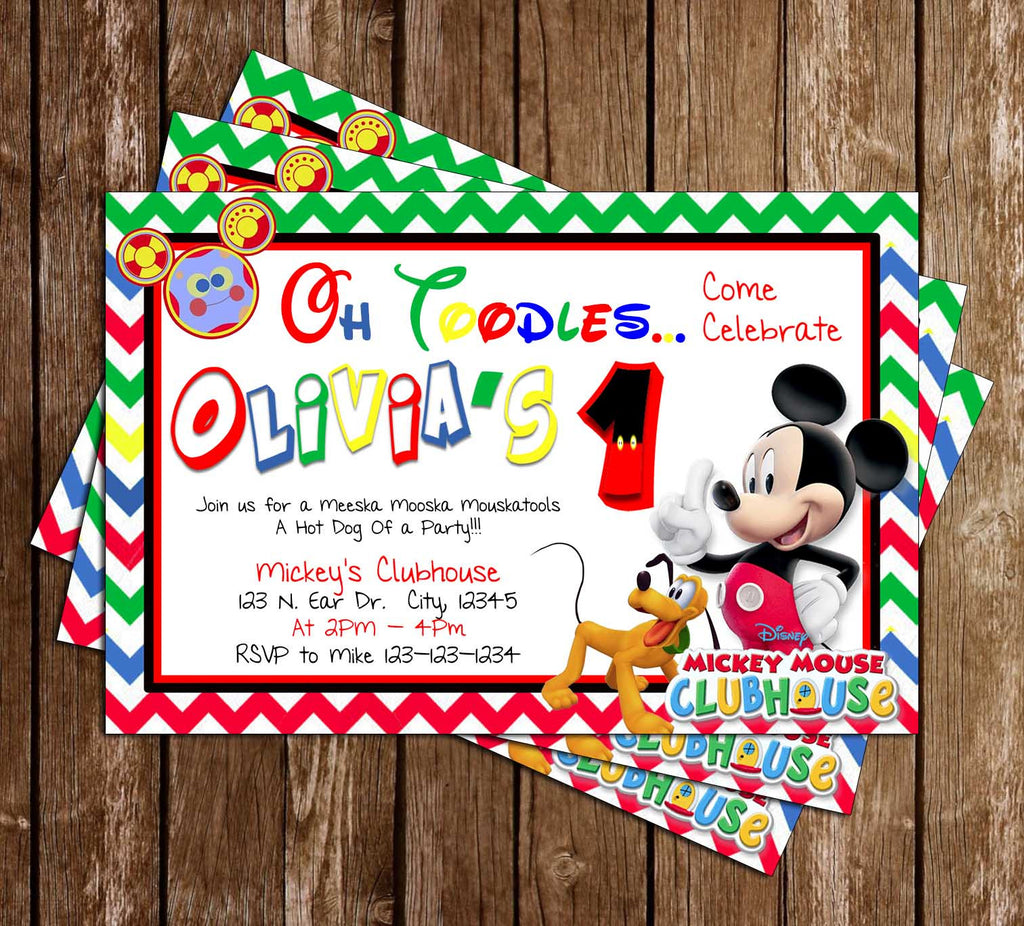 Disney - Mickey Mouse Clubhouse - Rainbow - Birthday Party Invitation