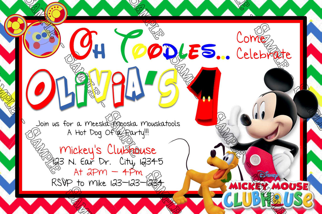 Disney   Mickey Mouse Clubhouse   Rainbow   Birthday Party Invitation