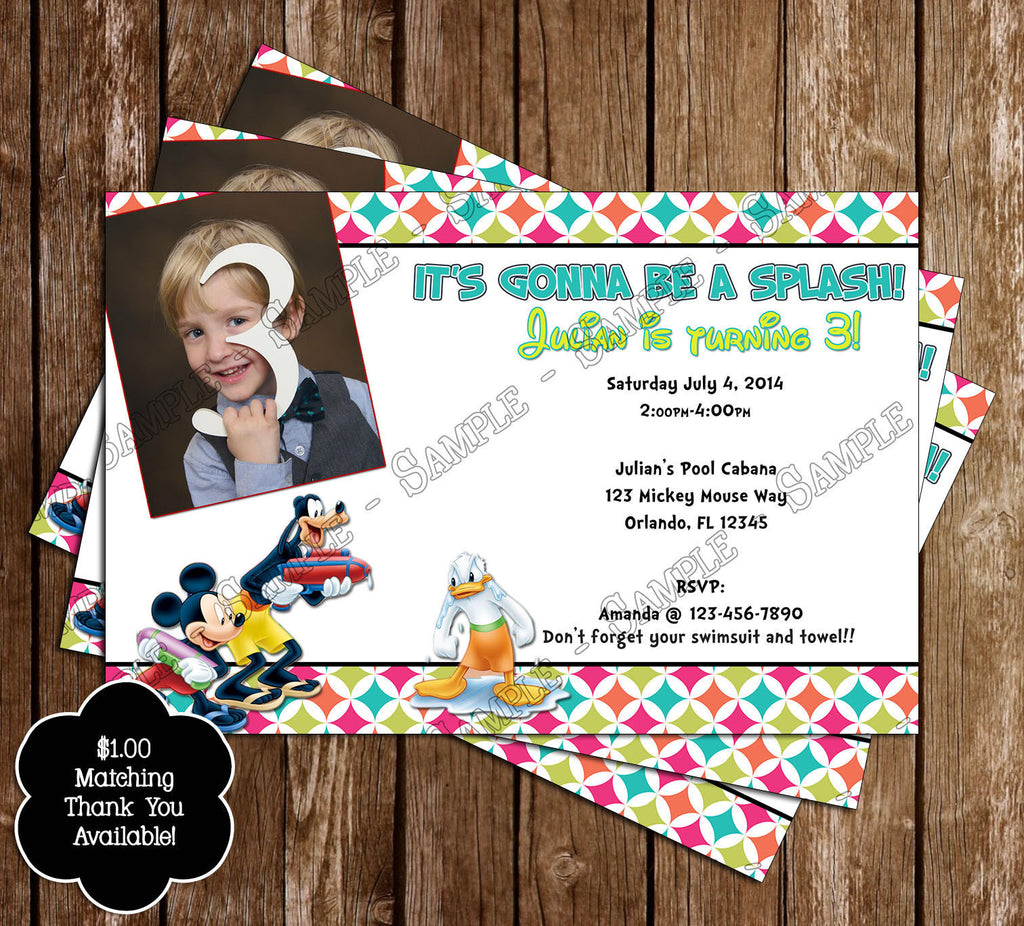 Novel Concept Designs - Disney Mickey Mouse Pool Party Ticket ...