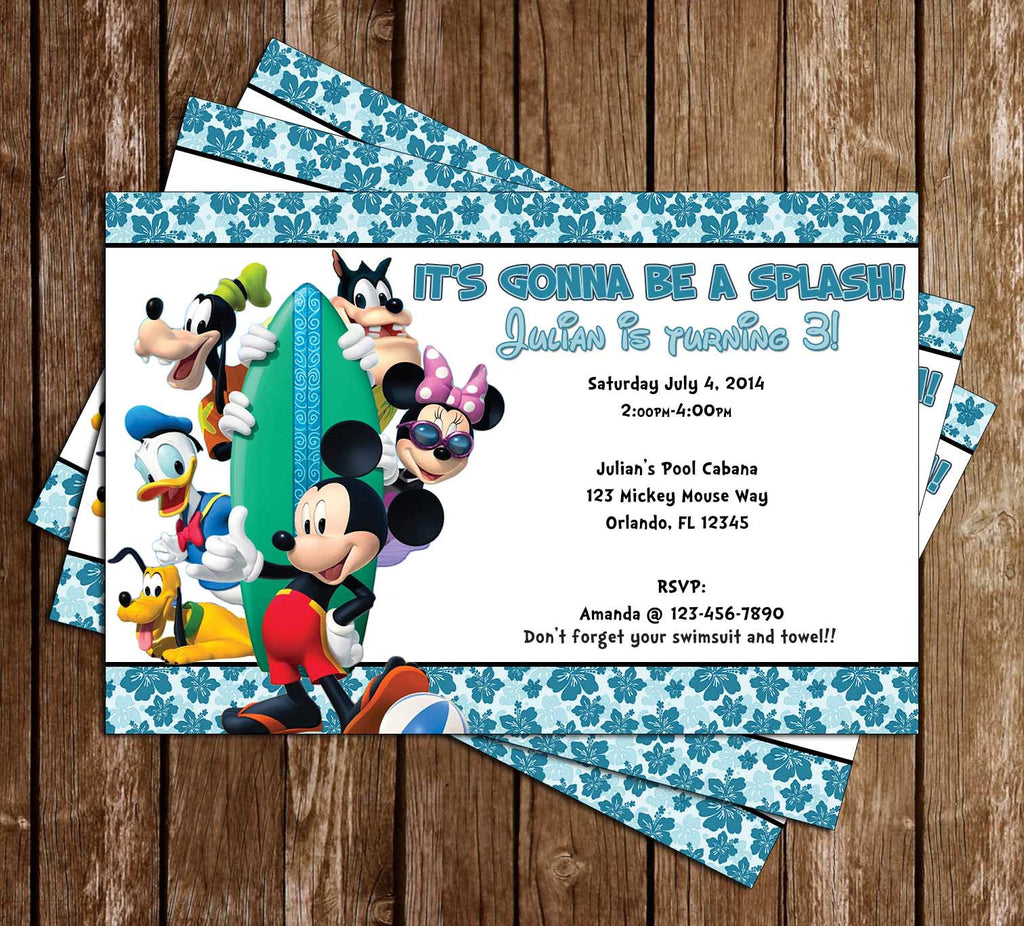Mickey Mouse Pool Party Invitation with Photo (Boy)