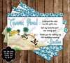 Minnie Mouse Pool Party / Beach Thank You Card