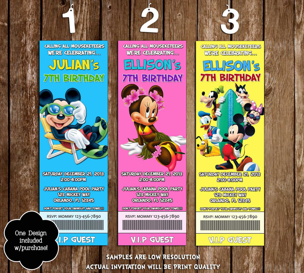Disney Mickey Mouse Pool Party Ticket Invitations (3 Designs)  Party Ticket Invitations