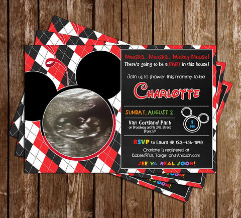 mickey mouse gender neutral baby shower invitation