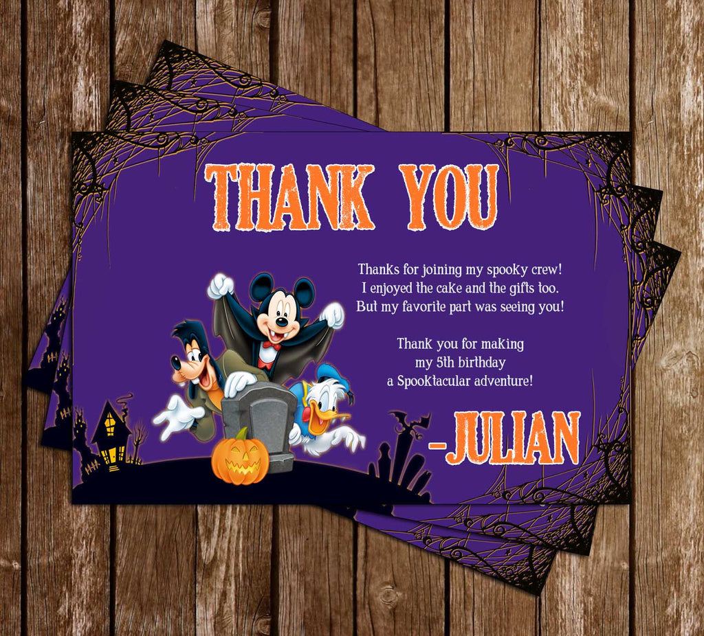 Mickey Mouse Spooky Halloween Birthday Thank You Card