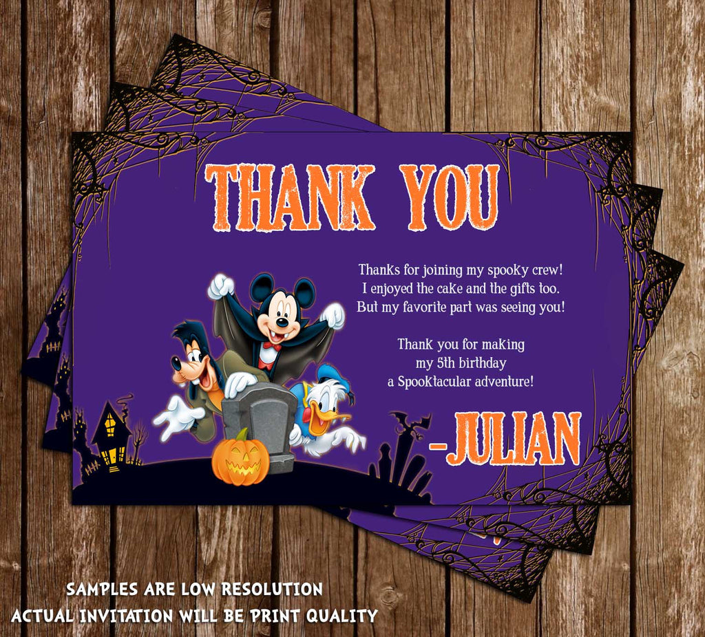 Disney Mickey Mouse Spooky Halloween Birthday Thank You Card