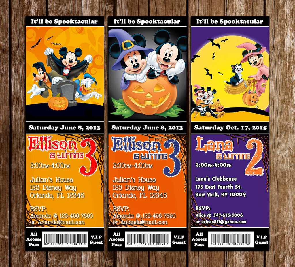 Mickey Mouse Spooky Halloween Birthday Party Ticket Invitation