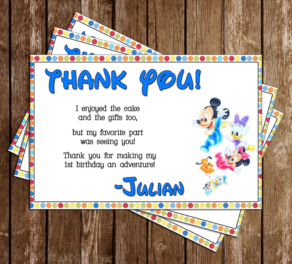 Disney Baby Mickey / Minnie Character Birthday Thank You Card