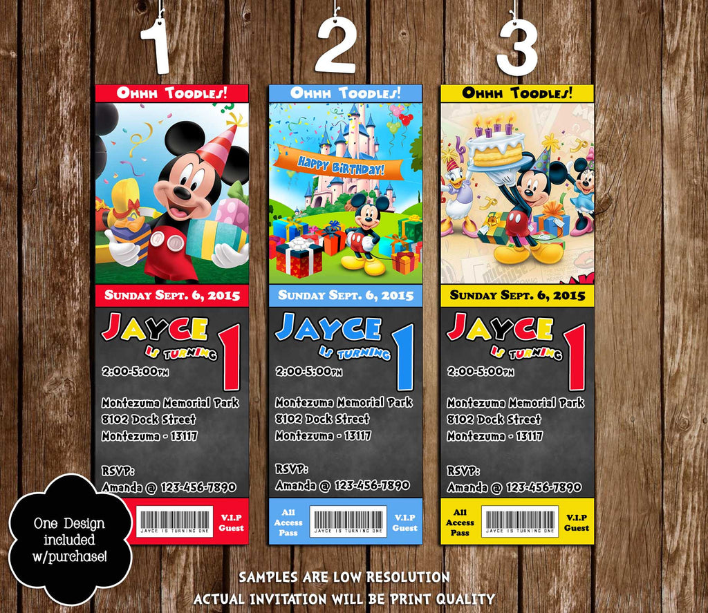 Novel Concept Designs Mickey Mouse Clubhouse Chalkboard Birthday – Ticket Invitation