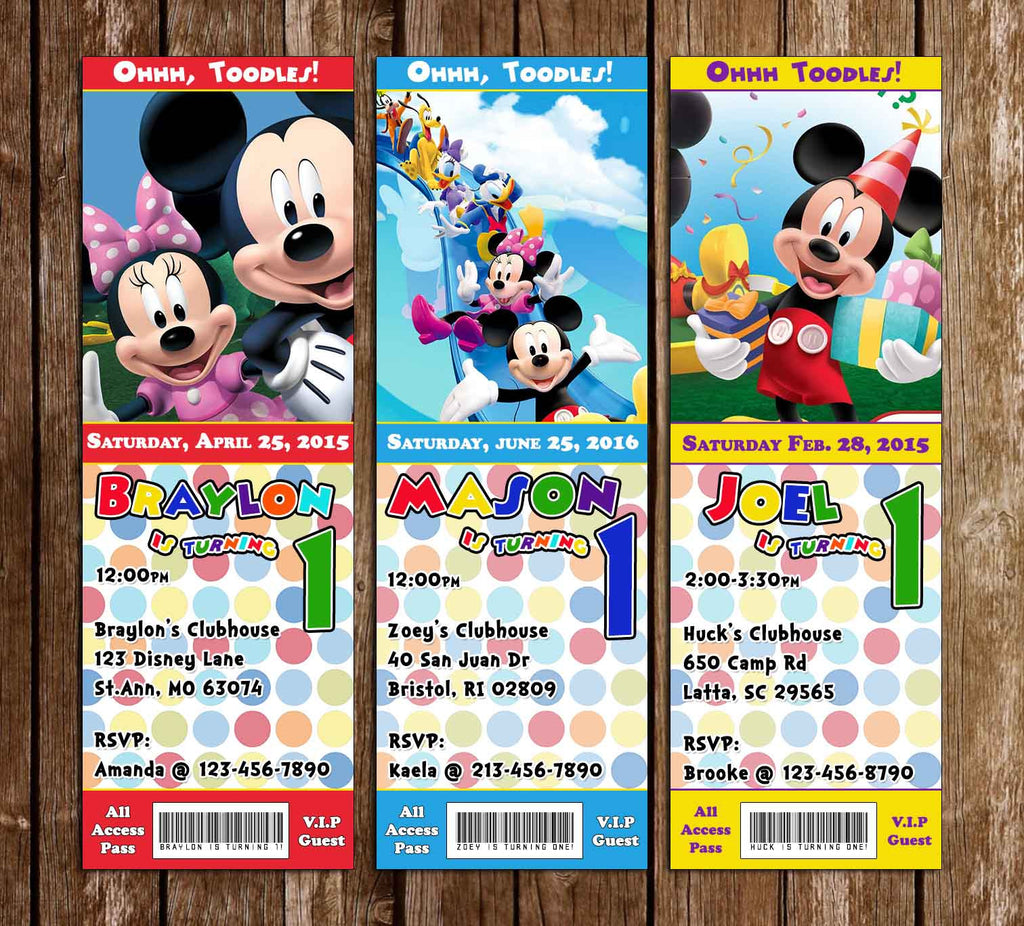 Disney Mickey Mouse Clubhouse Birthday Party Ticket Invitation
