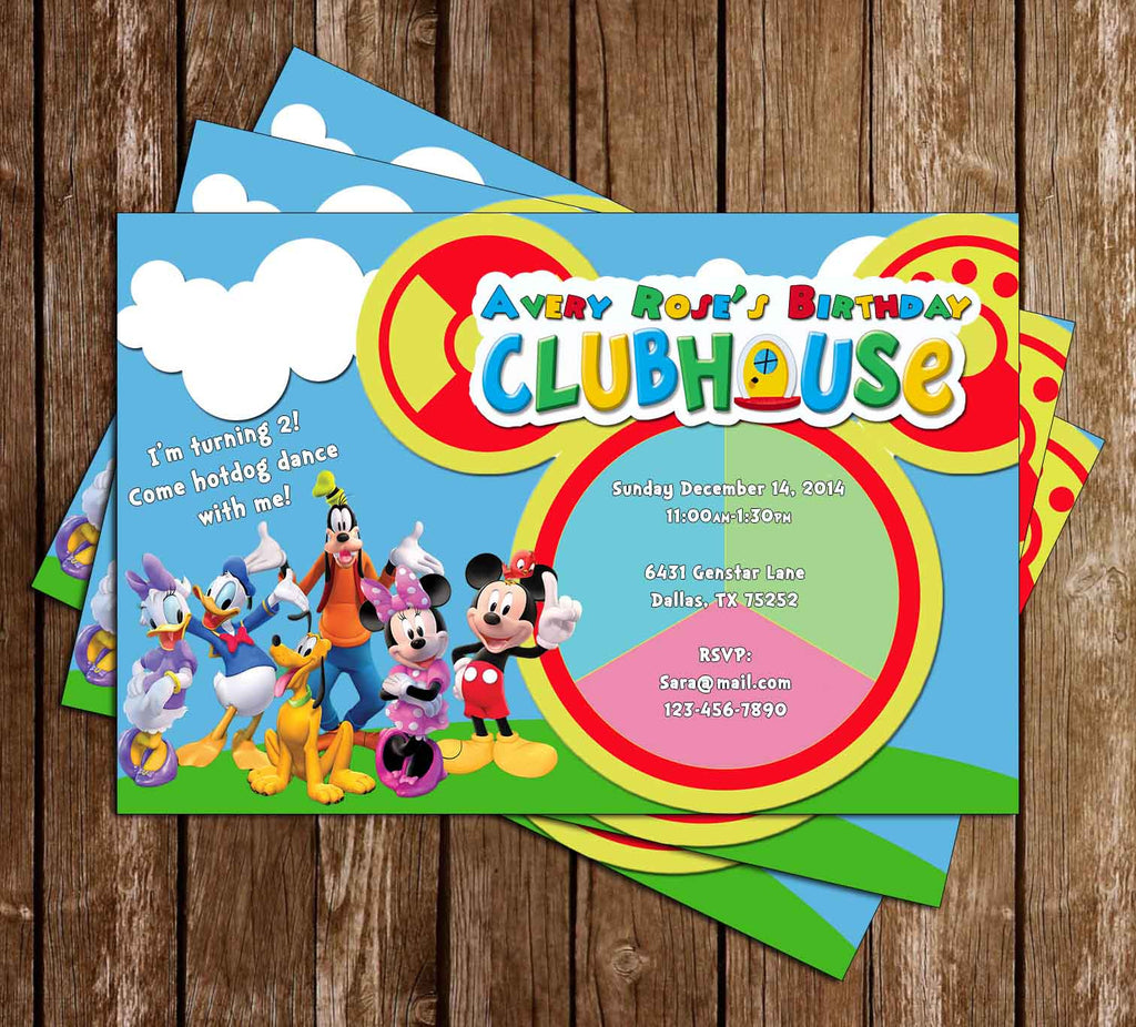 Disney Mickey Mouse Clubhouse Toodles Birthday Party Invitation