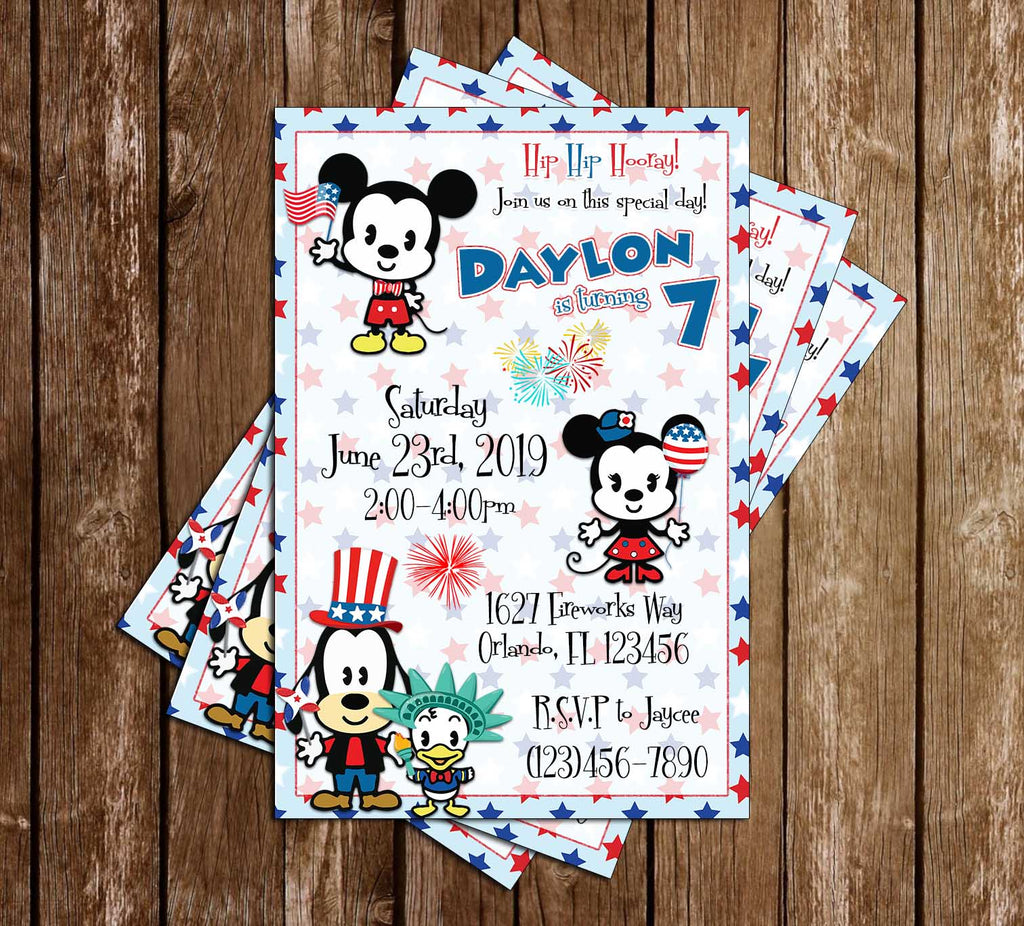 Mickey Mouse - Fourth of July - Birthday Party Invitation