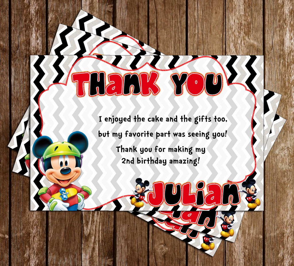 Disney - Mickey Mouse - Glitter - Birthday Party - Thank You Card