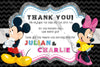 Disney - Mickey & Minnie - 2 Birthdays - Birthday Party Thank You Card