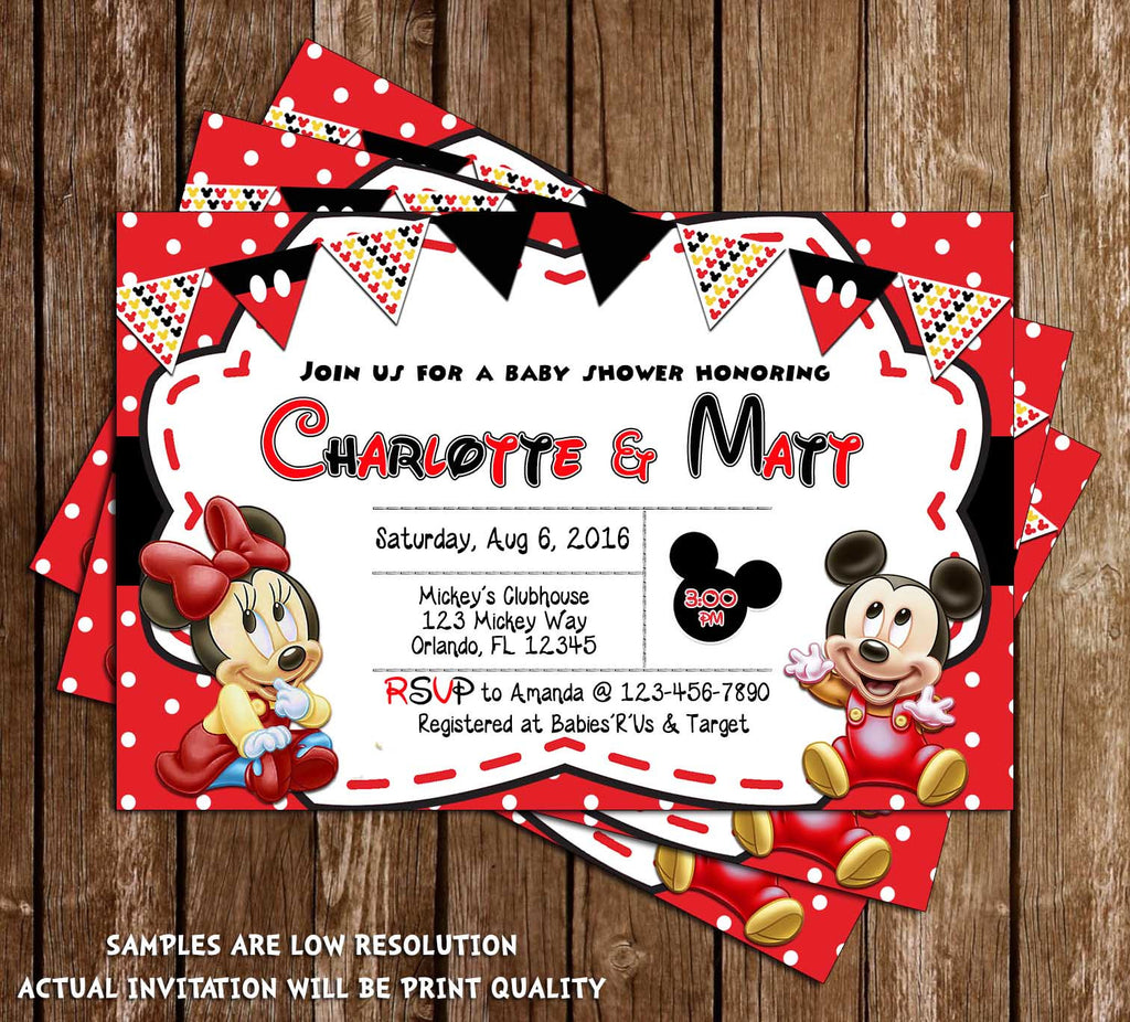 concept designs baby mickey minnie mouse baby shower invitation