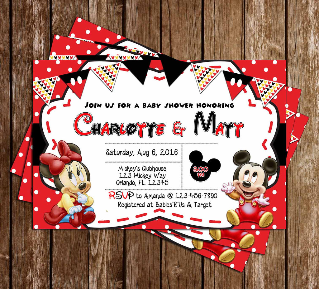 Baby Mickey & Minnie Mouse - Baby Shower Invitation