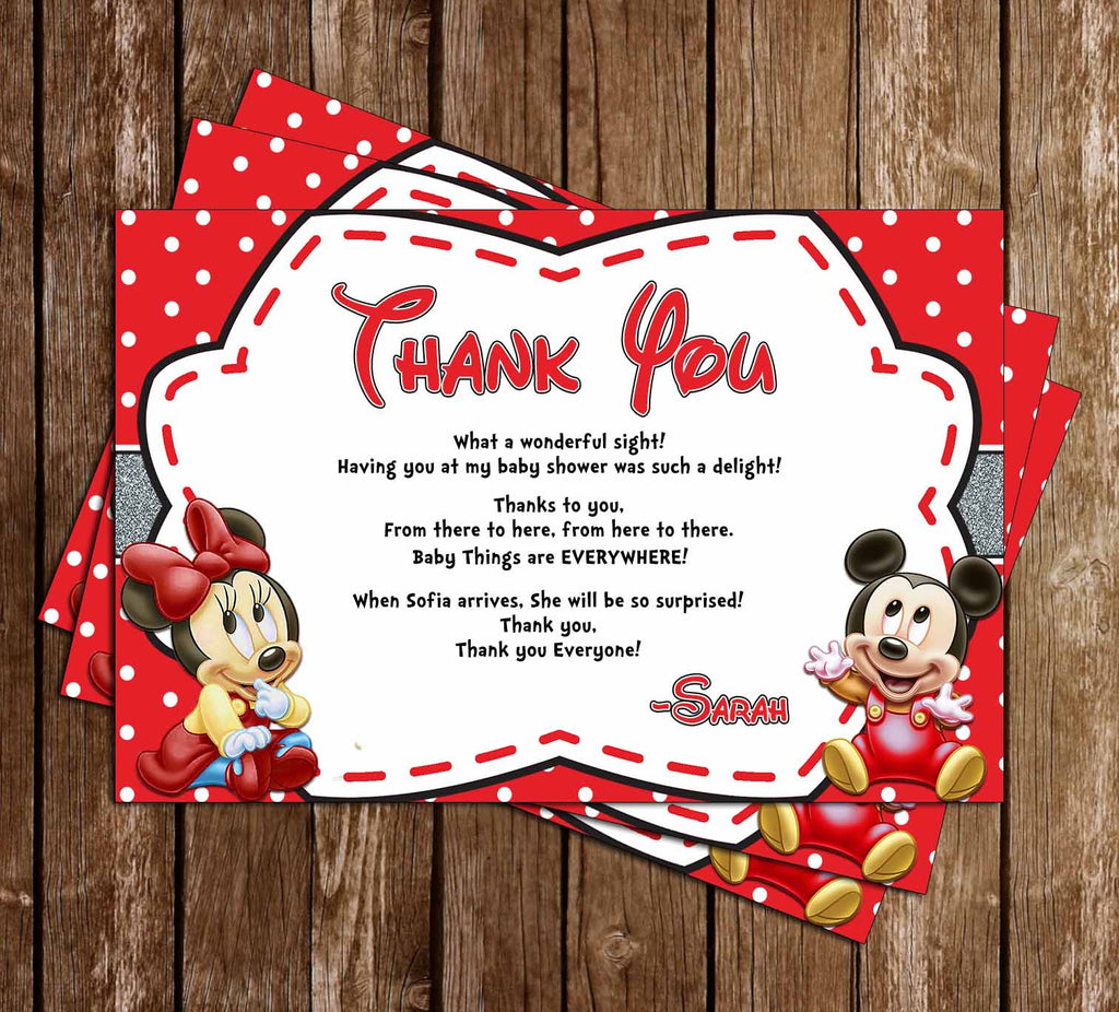 Baby Mickey & Minnie Mouse - Gender Neutral - Baby Shower Thank You Card