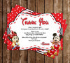 Baby Mickey & Minnie Mouse - Baby Shower Thank You Card