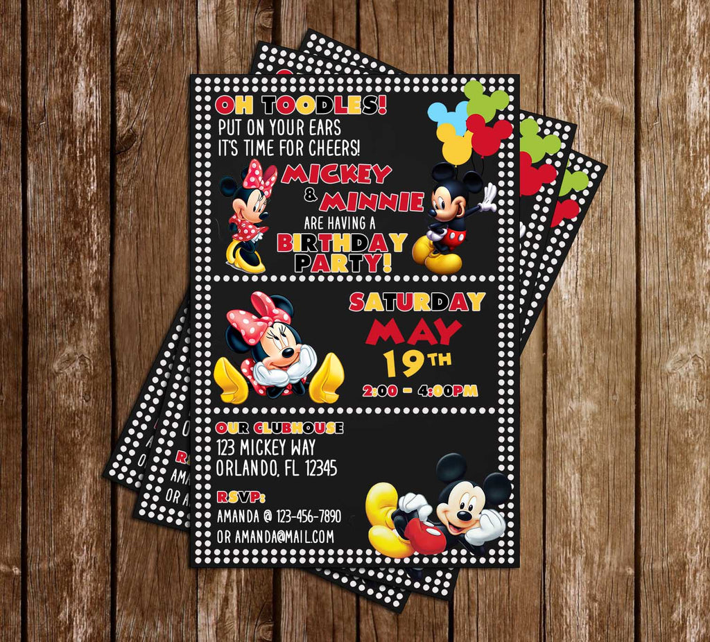 Mickey Mouse & Minnie Mouse - Dots - Birthday Party - Invitation