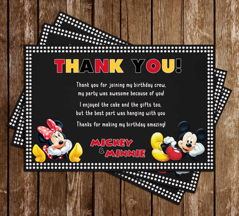 Mickey Mouse & Minnie Mouse - Dots - Birthday Party - Thank You Card
