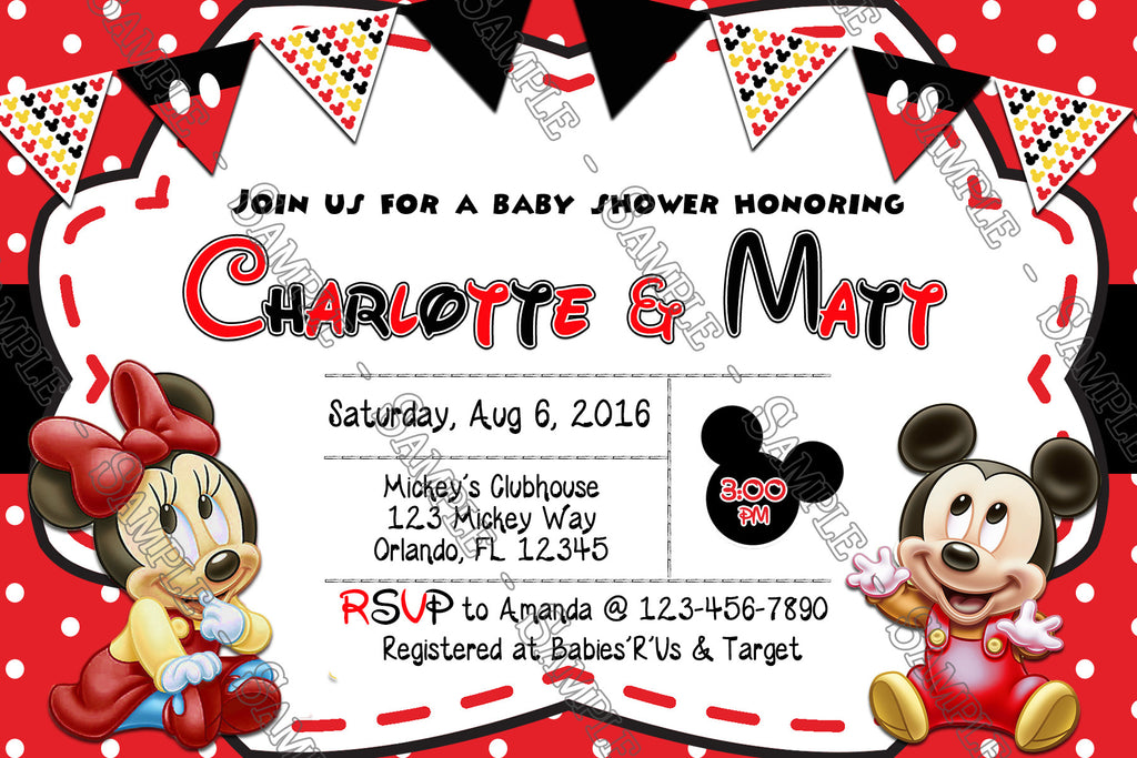 Baby Mickey U0026 Minnie Mouse Baby Shower   Bring A Book Insert