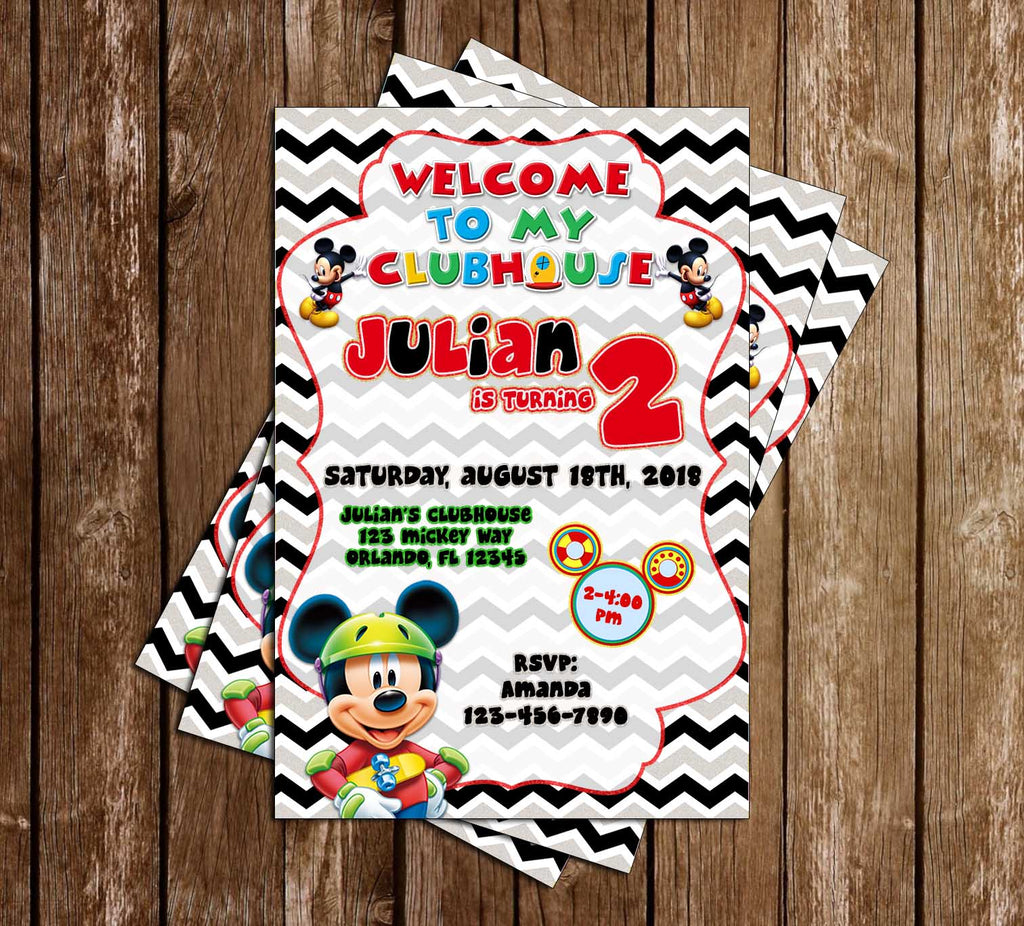 Disney - Mickey Mouse - Glitter - Birthday Party Invitation