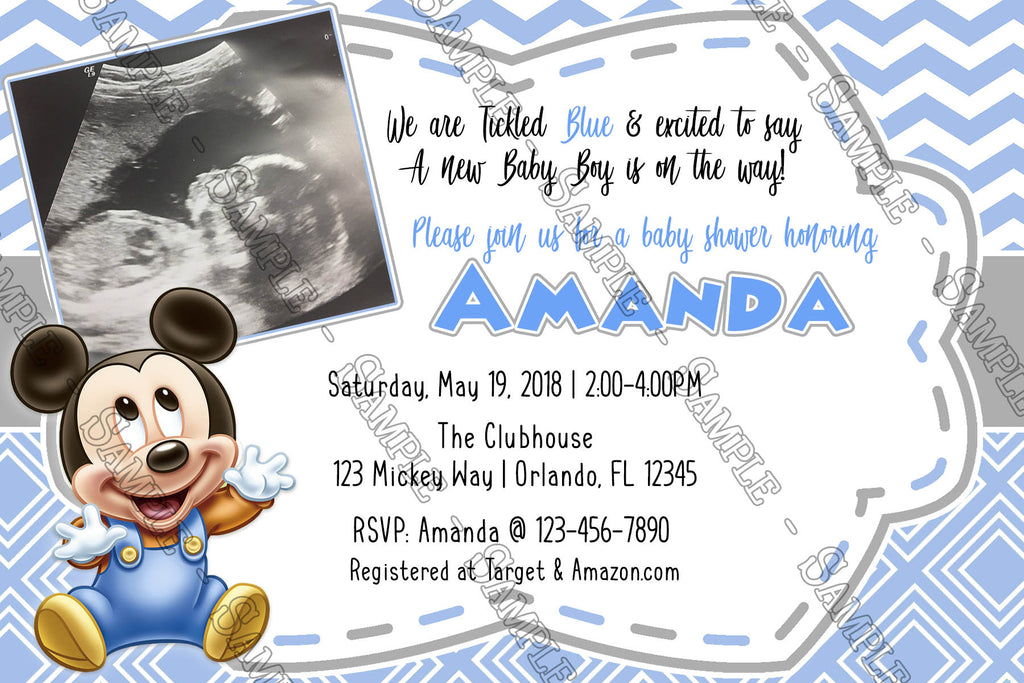 Novel Concept Designs - Baby Mickey Mouse - Ultrasound - Baby Shower ...