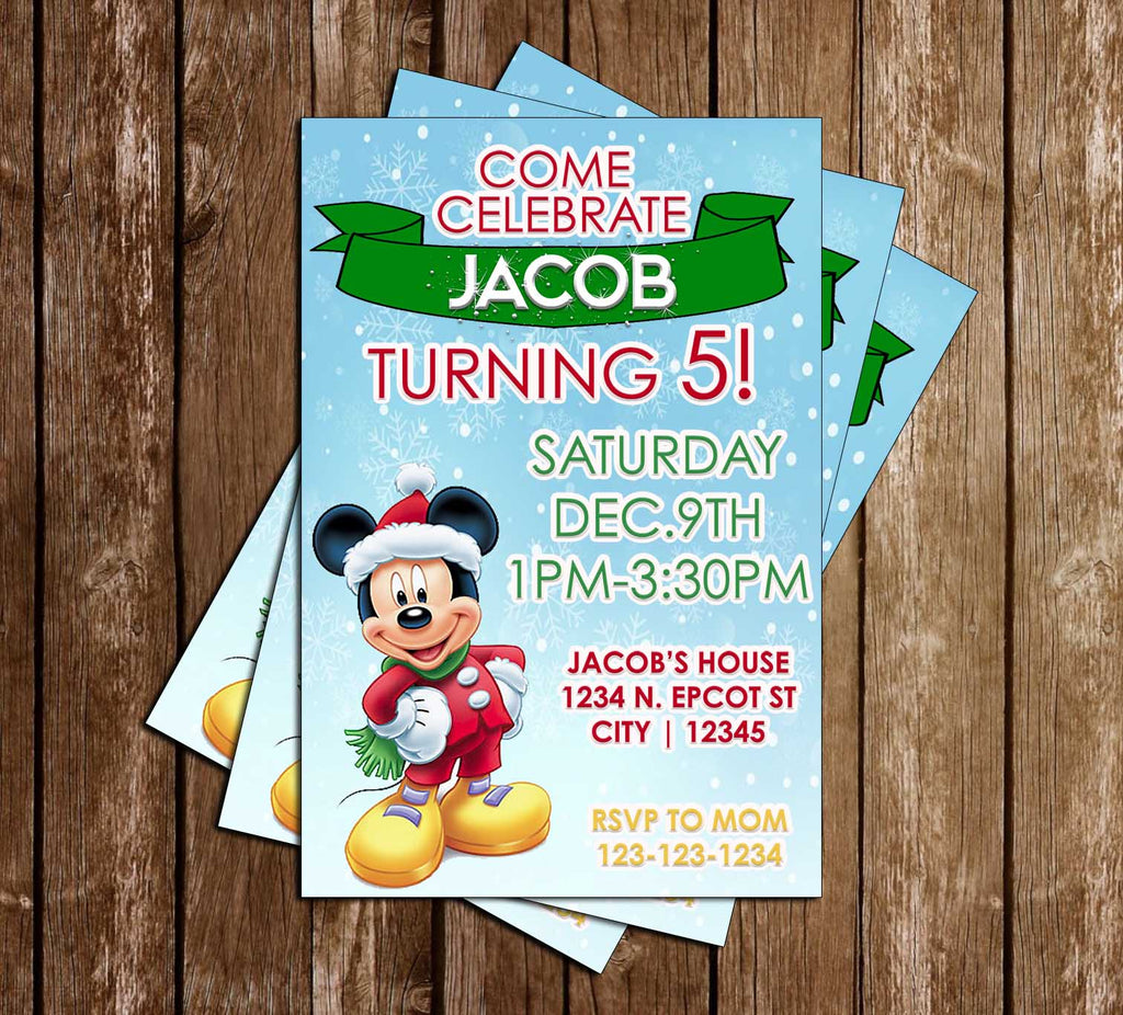 Mickey Mouse - Winter - Birthday Party - Invitation
