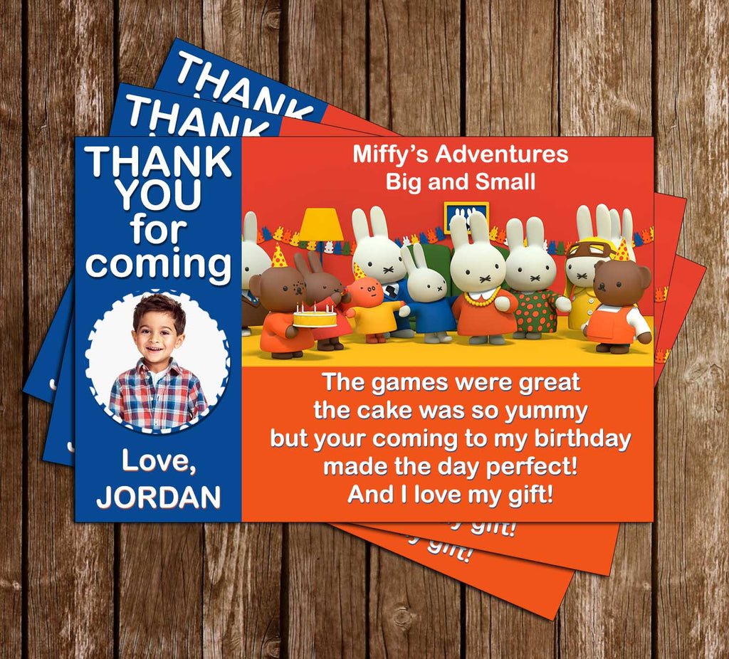 Miffy's Adventures - Birthday Party - Thank You Card