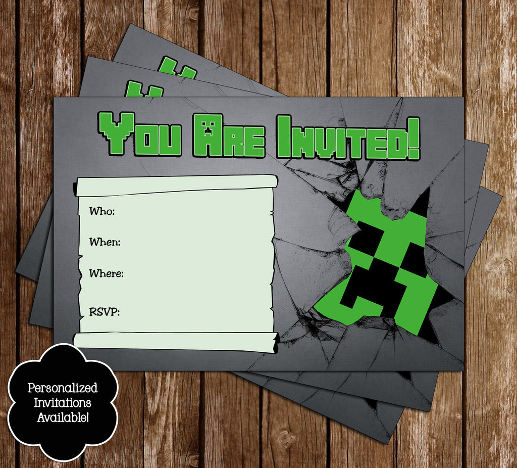 Novel concept designs free minecraft creeper inspired birthday free minecraft creeper inspired birthday invitation printable filmwisefo Image collections