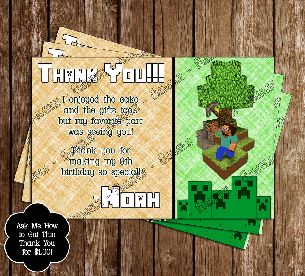 Novel Concept Designs - Free Minecraft Inspired Birthday Thank You ...