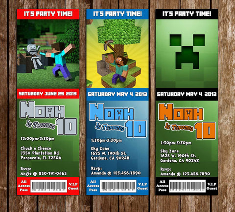 Minecraft - Ticket Birthday Invitation
