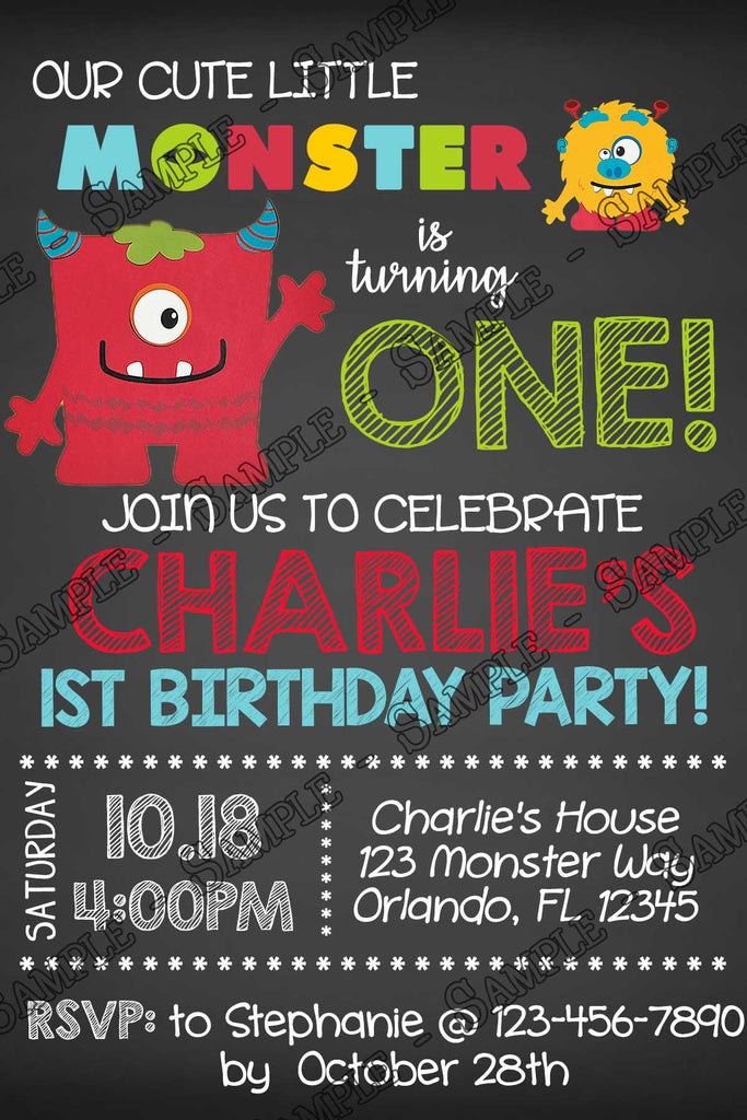 novel concept designs mini monsters birthday party invitation