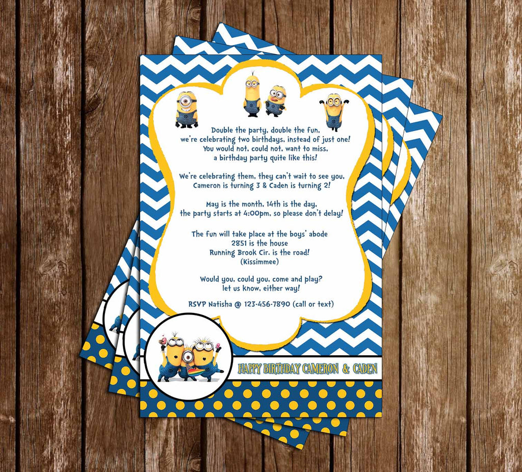 Novel Concept Designs - Despicable Me - Minions - Twins Birthday ...