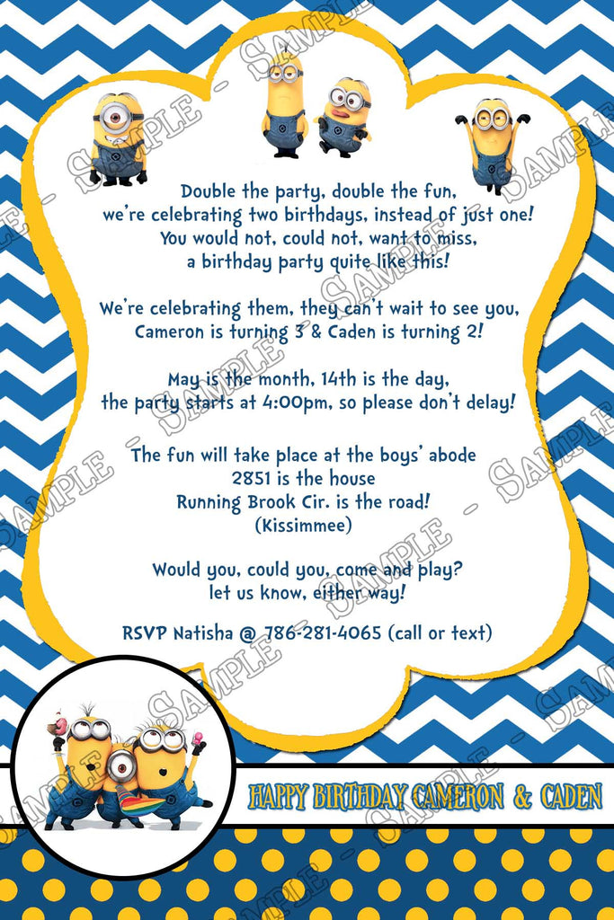 novel concept designs - the minions -despicable me birthday invitation, Birthday invitations